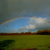 Rainbow holds back the clouds in Somerset